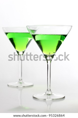 Color photograph of green glasses beaker