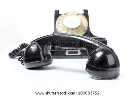 Color photograph of old black phone