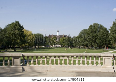 Color photograph of the University of Illinois Quad in the center of campus.