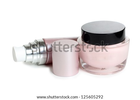 Color picture glasses tubes and cream - stock photo
