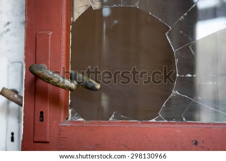 Color picture of a burglary crime scene with fingerprints - stock photo