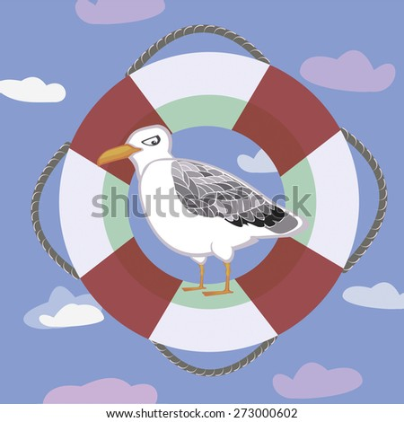 color pictures with a seagull and clouds, sea theme - stock photo