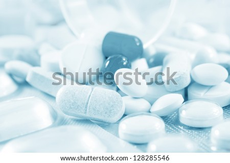 color pills and tablet, the medical means - stock photo