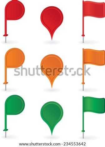 Color pins and flags collection . Raster version - stock photo