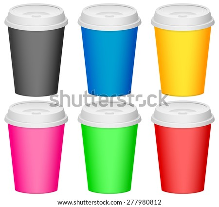 color plastic cup illustration. - stock photo