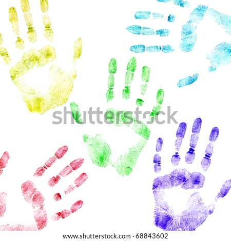 Color print of human hands. The detailed image. It is isolated on a white background - stock photo