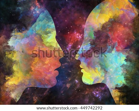 Color Profiles series. Abstract design made of textured human silhouettes on the subject of inner life, mind, personality, creativity and emotions - stock photo