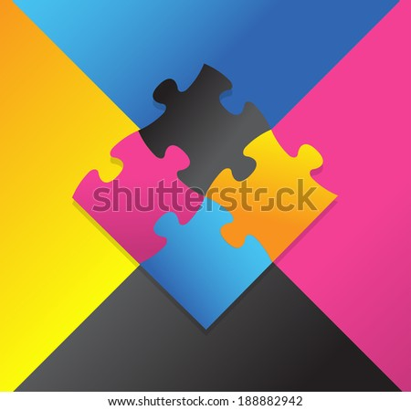 color puzzle illustration design over a multicolor background - stock photo