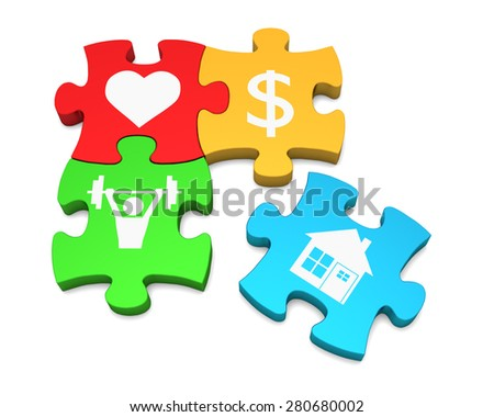 Color puzzle on a white background with symbols. The concept of happiness. 3d