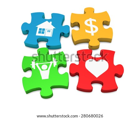 Color puzzle on a white background with symbols. The concept of happiness. 3d - stock photo
