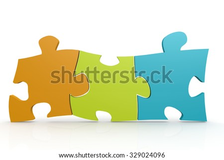 Color puzzle three pieces image with hi-res rendered artwork that could be used for any graphic design. - stock photo