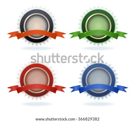 Color quality blank labels isolated on white background. - stock photo