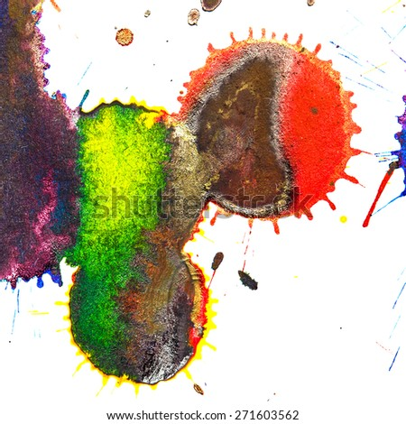 Color red, orange, yellow, green, blue, indigo, violet ink stain on a white background. Elements of graphic design. Art abstract. - stock photo