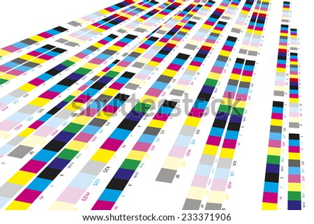Color reference bars of printing process in printshop - stock photo