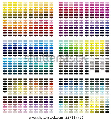Color reference illustration. Shades from 100 to 627. - stock photo