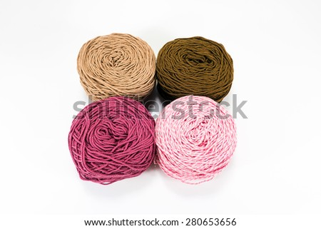 color rope on white background - stock photo