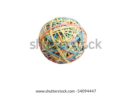 color rubber ball in center of a frame isolated on white - stock photo