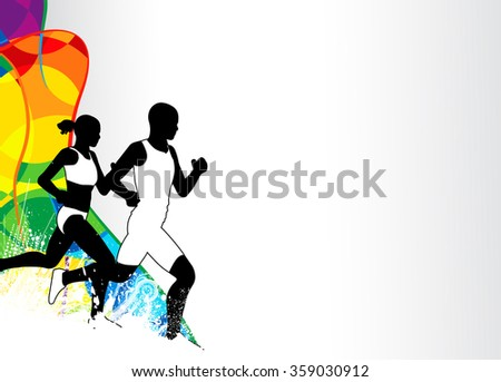 Color running sport flyer or poster background with empty space - stock photo