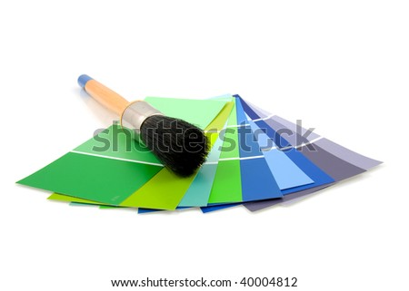 Color samples for painting with brush, over white background - stock photo