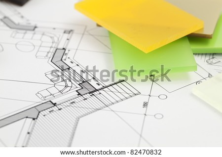 color samples of architectural materials - plastics,  and architectural drawings of the modern house - stock photo