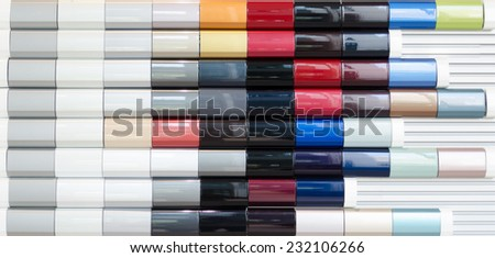 Color samples of car painting - stock photo