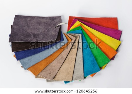 Color samples of different leather - stock photo