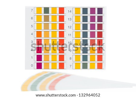 Color samples pH for Litmus strips to measurement of acidity - stock photo