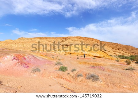 Color sand valley of Negev desert - nature reserve in the south of Israel