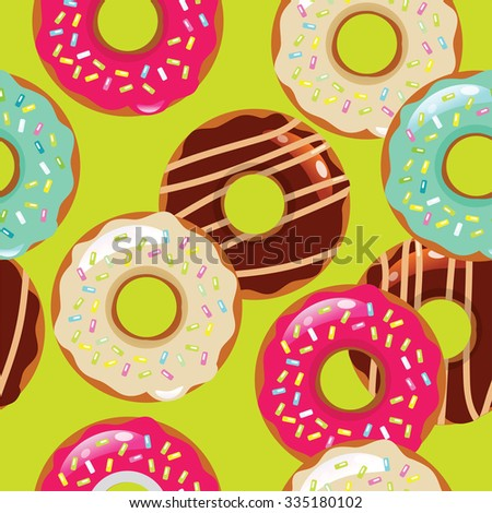 color seamless pattern with donuts - stock photo