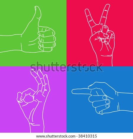 Color set of hand gestures.