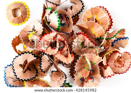 Color shavings pencils viewed from above on white background. Horizontal image.