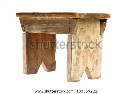 Color shot of a vintage stool isolated on white. - stock photo