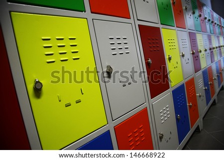 Color shot of some lockers in a highschool - stock photo