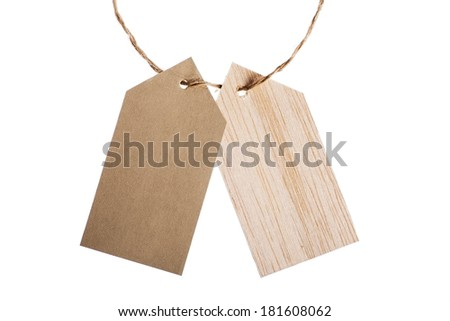 Color shot of two tags with a rope, isolated on white - stock photo