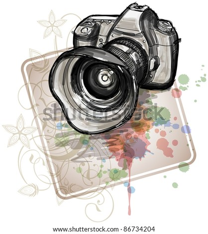 Color sketch of a digital photo camera  & floral calligraphy ornament - a stylized orchid, color paint background. Bitmap copy my vector - stock photo