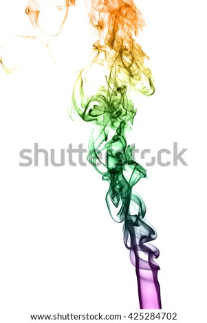 Color smoke on white background from the incense sticks