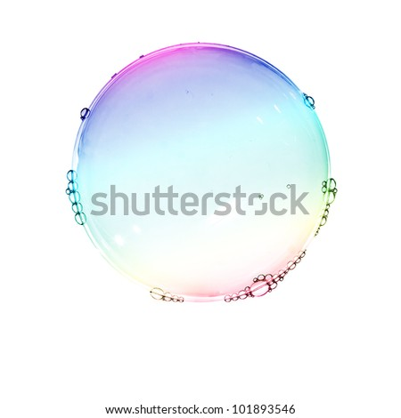 Color soap bubbles isolated on white - stock photo