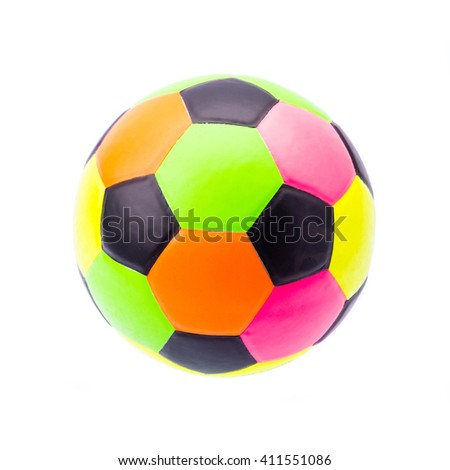color soccer ball on white background - stock photo