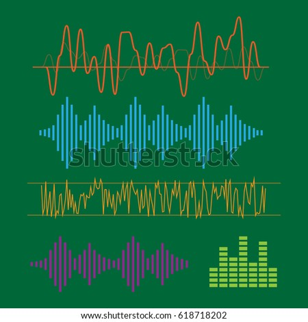 Color sound waves. Music technology, digital design, stereo equalizer. sound waves