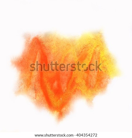 color splash stroke abstract yellow orange red watercolor spot macro watercolour blotch texture isolated white background - stock photo