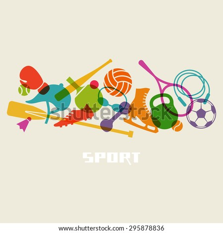 Color sport equipment icon. Healthy lifestyle concept sign. Fitness illustration for print, web - stock photo
