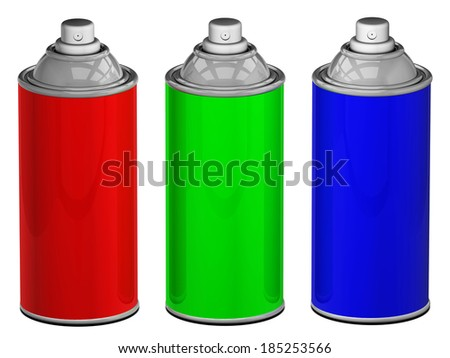 Color spray cans isolated
