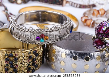 color stone bracelets - stock photo