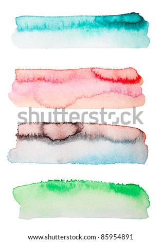 color stripes of watercolor art  background isolated on white