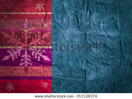 Color stripes painted texture of old concrete wall for background. Snowflakes icons at left side - stock photo