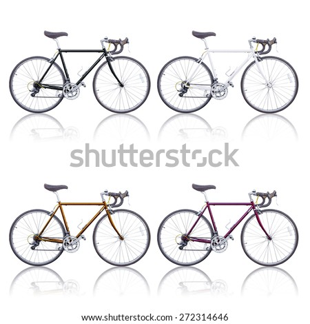 color vintage road bikes with shadow isolated - stock photo