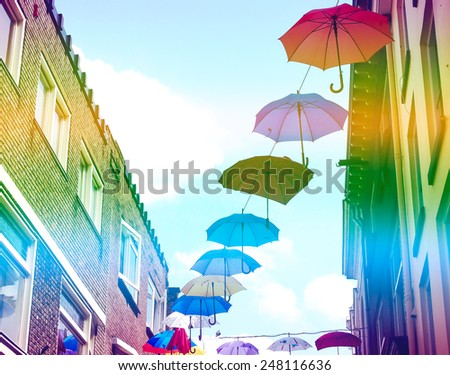 color vintage umbrella - stock photo