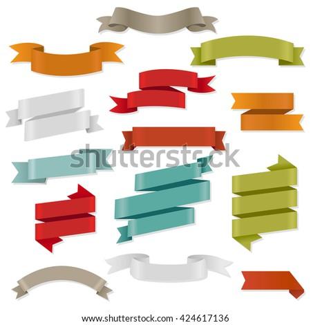 Color Web Ribbons Set  - stock photo