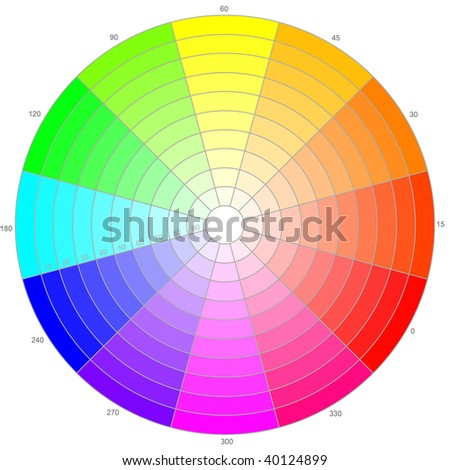 Color wheel with different saturation - stock photo