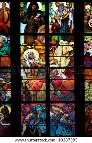"color window - ""Celebration of the Apostles"". St Vitus cathedral, Prague"